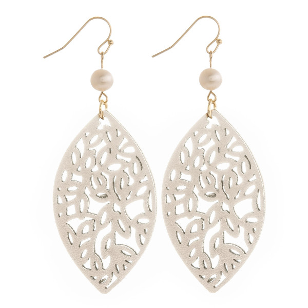 """Fishhook leaf earring with pearl detail. Approximate 3"""" in length."""