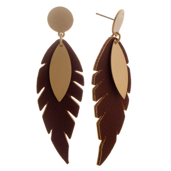 "Metal stud earring with faux leather feather detail. Approximately 2.5"" in length"