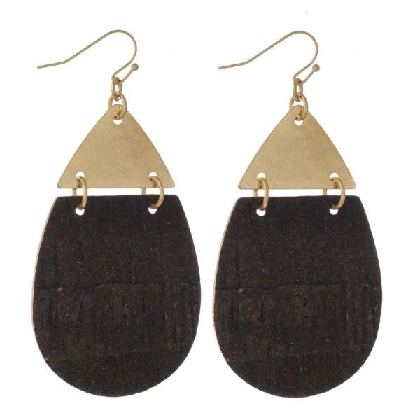 "Gold tone fishhook earring with teardrop cork shape. Approximately 2"" in length."
