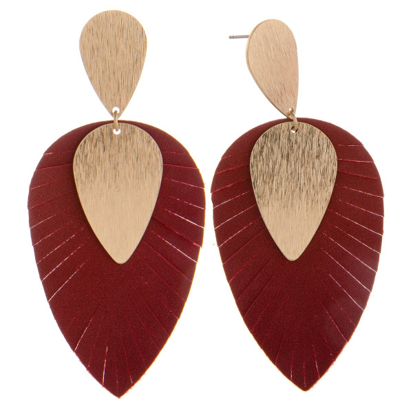 "Leather drop earring with gold drop. Approximate 3"" in length."
