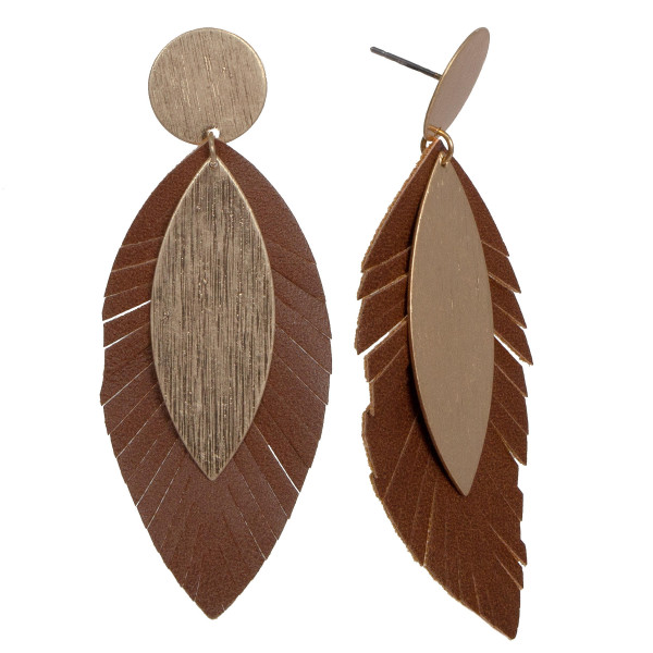 "Metal stud earring with faux leather feather detail. Approximately 2"" in length."