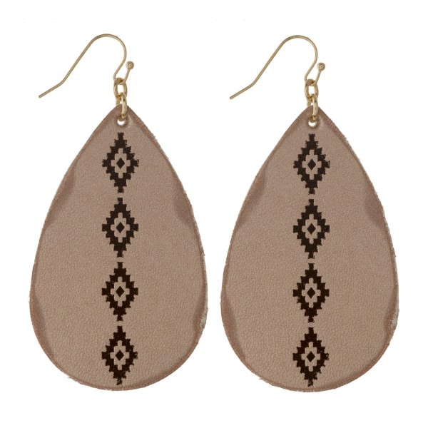 "Faux leather tear drop earring with western print. Approximately 2"" in length."