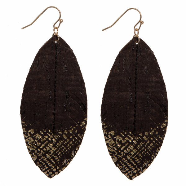"Fishhook cork feather earring with metallic detail. Approximately 2"" in length."