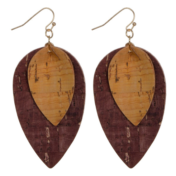 "Layered cork teardrop earring. Approximately 2"" in length."