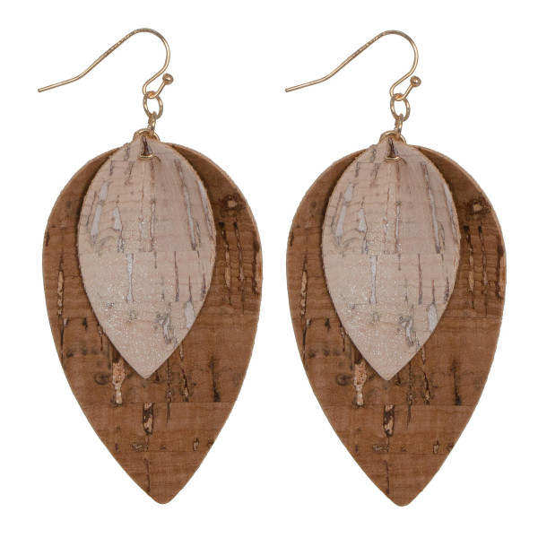 """Layered cork teardrop earring. Approximately 2"""" in length."""