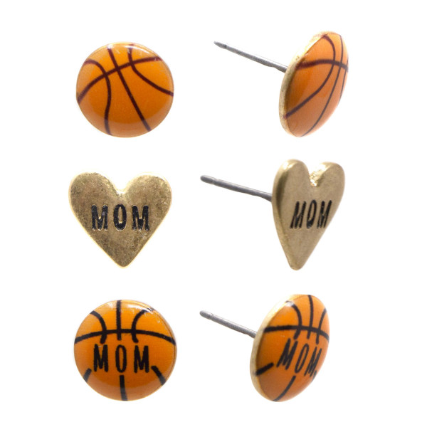 """Basketball stud earring set. Approximately 1/4"""" in length."""