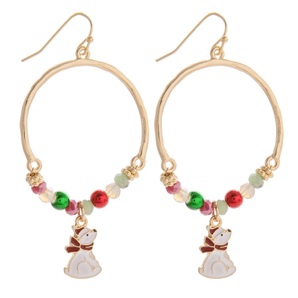 Hurry! and grab these gorgeous Christmas hoop earrings with       pendant. These wont last long. Approximate 1.5 in diameter.