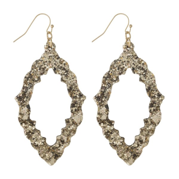 """Fishhook earring with glitter moroccan shape. Approximately 2"""" in length."""