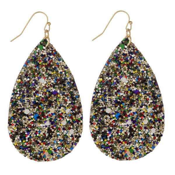 "Gold tone fishhook earring with glitter teardrop shape. Approximately 2"" in length."