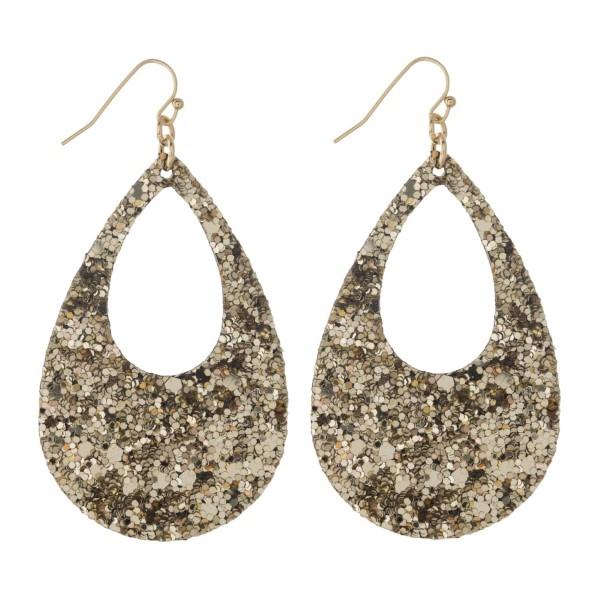 """Fishhook earring with glitter teardrop shape. Approximately 2"""" in length."""