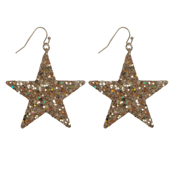 "Fishhook glitter star earring. Approximately 1.25"" in length."
