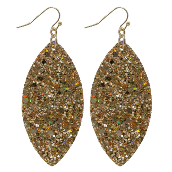 "Fishhook earring with glitter oval shape. Approximately 2"" in length."