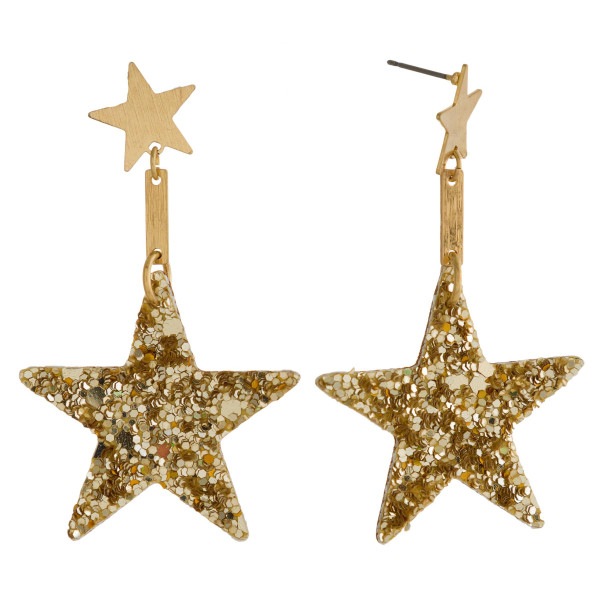 "Star stud earring with glitter star shape. Approximately 1.5"" in length."