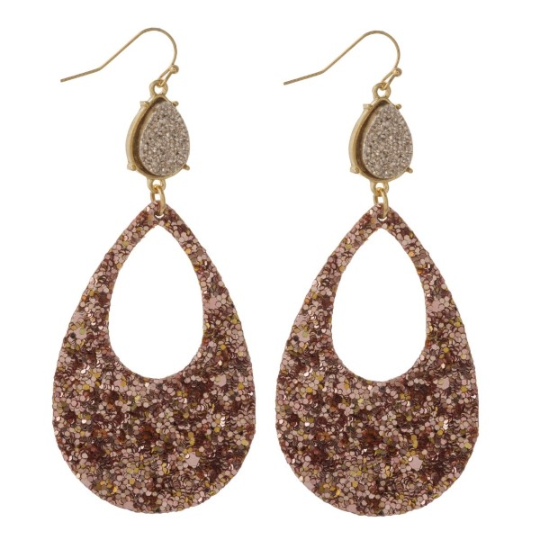 "Gold tone fishhook earring with faux druzy accent and glitter teardrop shape. Approximately 2.5"" in length."