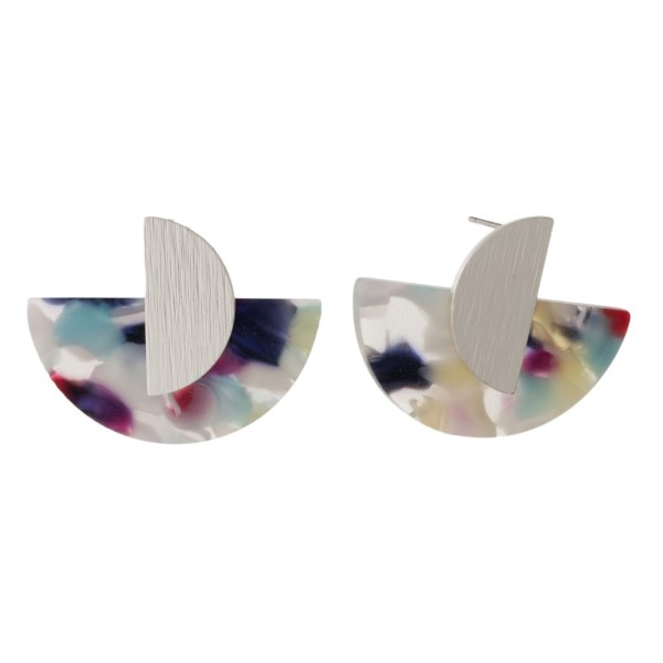 """Metal post earring with half circle acetate shape. Approximately 1"""" in length."""