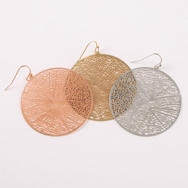 """Circular drop earrings featuring a filigree pattern. Approximately 1.5"""" in diameter."""
