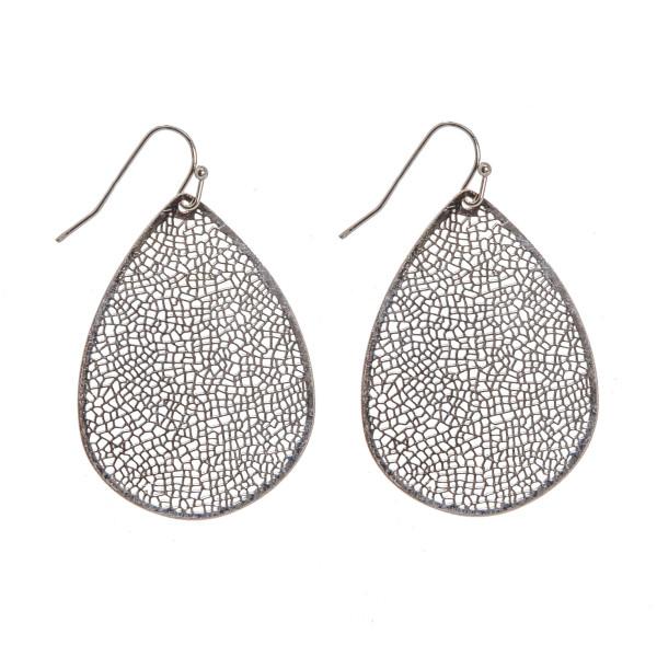 """Teardrop earrings featuring a filigree pattern. Approximately 1.5"""" in length."""