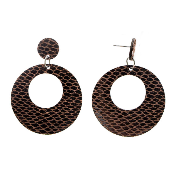 """Faux snakeskin stud earring with circle shape. Approximately 2.5"""" in length."""