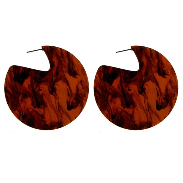 """Stud acetate earring with statement circle shape. Approximately 2"""" in length."""