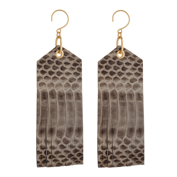 """Gold tone fishhook earring with long faux snakeskin shape. Approximately 3.5"""" in length."""