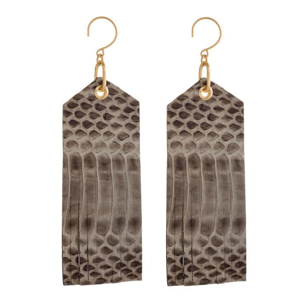 "Long, gold tone, fishhook earrings with faux snakeskin pattern. Approximately 3.5"" in length."