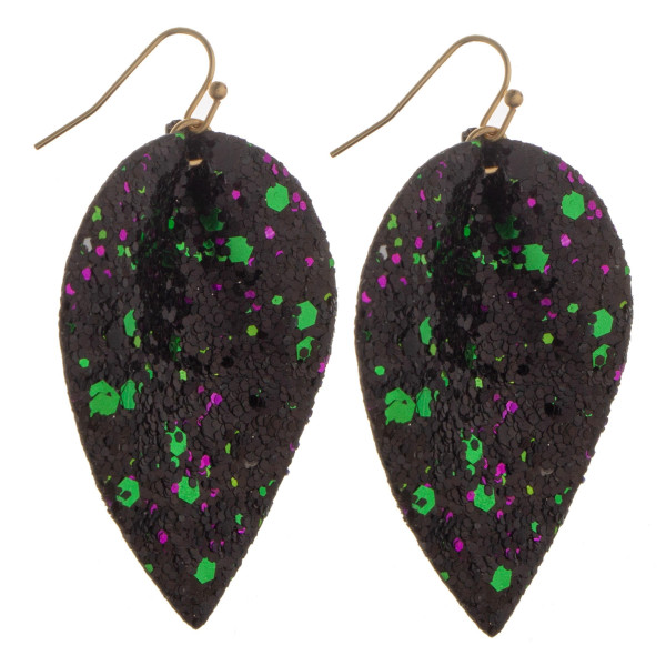 "Long drop earrings with multi color glitter details. Approximate 2"" in length."
