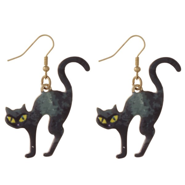 "Metal fishhook earring cat shape. Approximately 1.5"" in length."