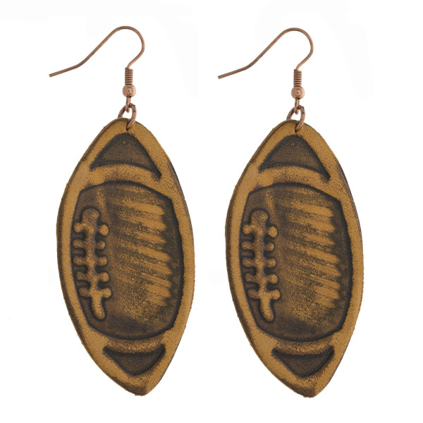 "Copper tone fishhook earring with genuine leather football earring. Approximately 2"" in length."