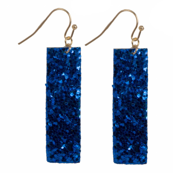 "Fishhook earring with glitter rectangle shape. Approximately 1.75"" in length."
