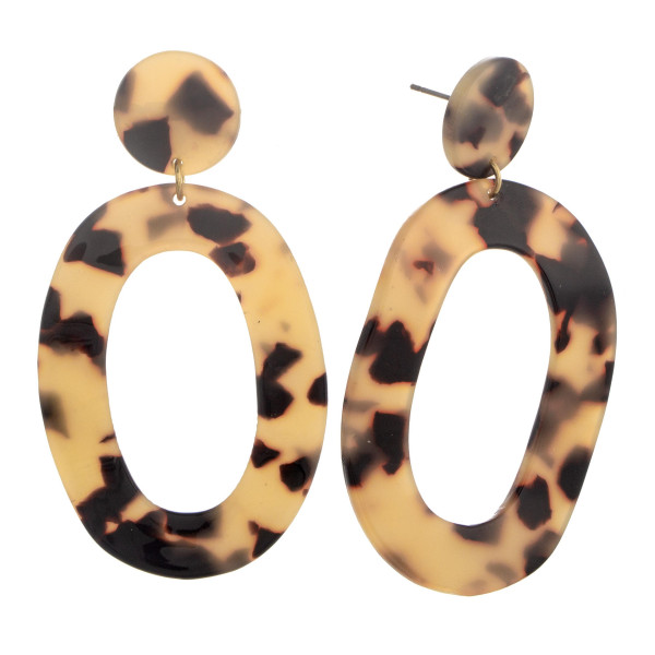 """Brown toned circular earring with acetate. Approximate 2.5"""" in length."""