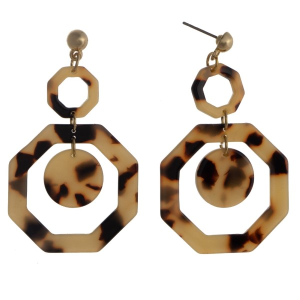 """Gold tone stud earring with acetate geometric shape. Approximately 2.5"""" in length."""