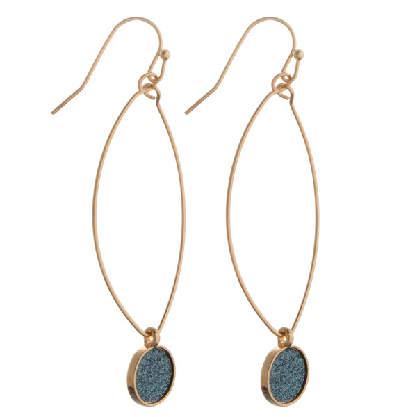 """Gold tone fishhook drop earring with glitter detail. Approximately 1.5"""" in length."""
