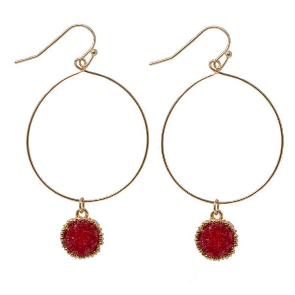 """Gold tone hoop earring with druzy charm. Approximately 1.5"""" in length."""