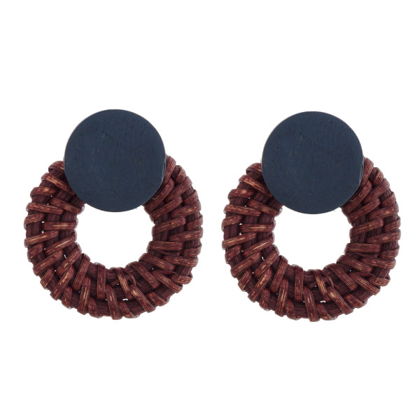 """Wooden stud earring with wicker detail. Approximately 1.5"""" in length."""