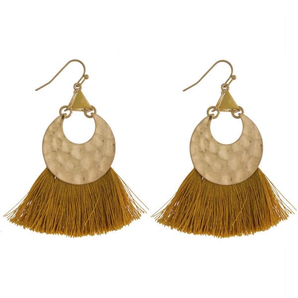 """Gold tone fishhook earring with tassel fan. Approximately 2.5"""" in length."""