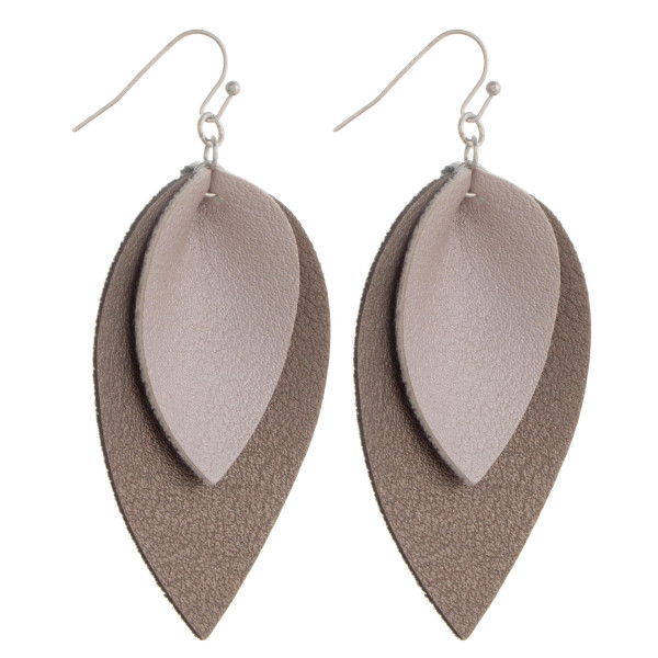 """Long drop earring. Displaying a double layered two tone detail. Approximate 2.5"""" in length."""