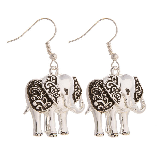 "Gorgeous elephant fishhook earrings. Approximate 1"" in length."