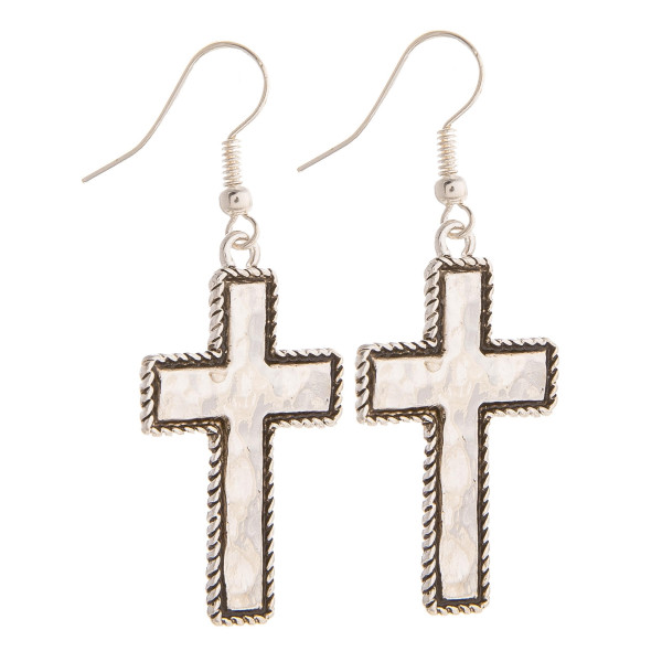 "Gorgeous metal cross earrings. Approximate 2"" in length."