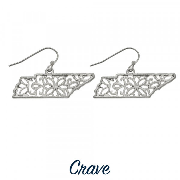 "Delicate filigree state earrings. Approximately 5/8"" inches long, depending on state's shape."