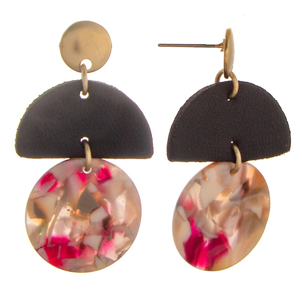 Short earring with faux leather and acetate designs. Approximate 1.5 in length.