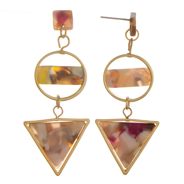 Long circled and triangle earrings with acetate designs. Approximate 1.5 in length.