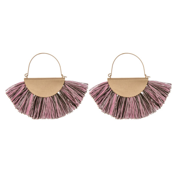 "Short multi color fanned tassel earrings. Approximate 3"" in length."