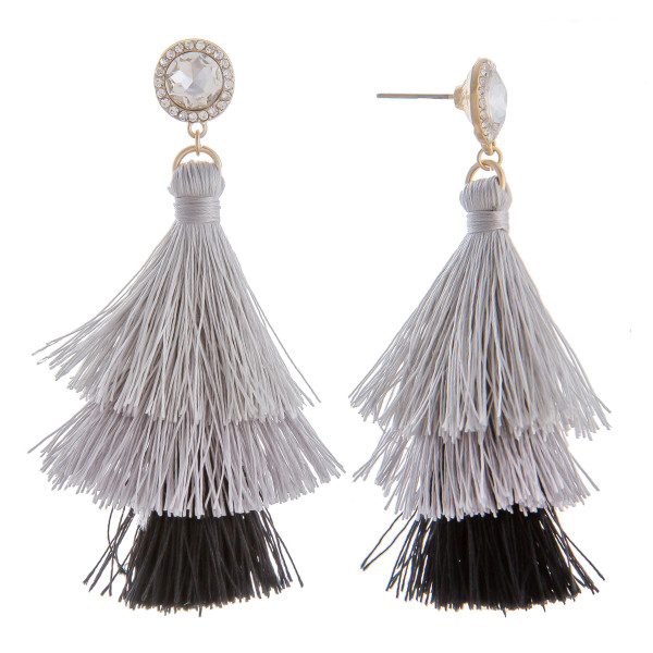 "Long tassel earring with multiple colors and a rhinestone post. Approximately 3"" in length."