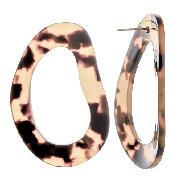 "Gorgeous multi toned acetate earrings. Approximate 2"" in diameter."
