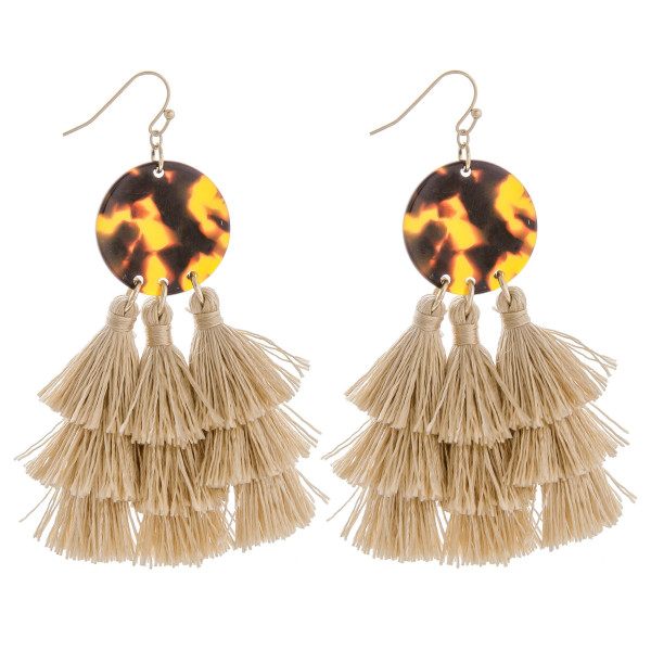 "Long fish hook earring with tassels. Approximate 3"" in length."