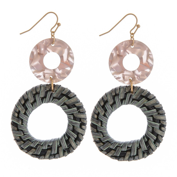 """Short fish hook earring with acetate and wood circle detail. Approximate 3"""" in length."""