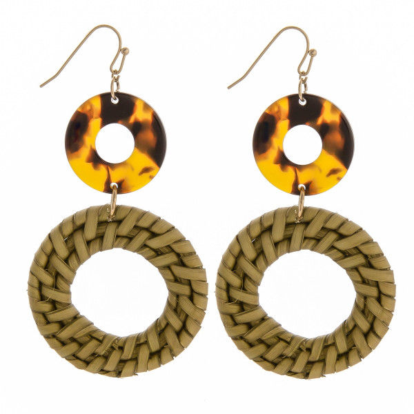 "Fish hook earring with acetate and woven raffia circle detail. Approximate 3"" in length."