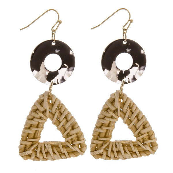 Short fish hook earring with acetate and wood triangle detail. Approximate 2.5 in length.
