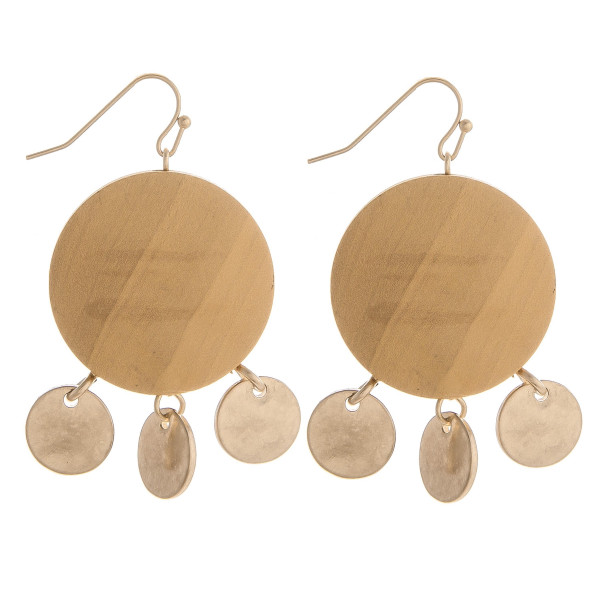 "Enjoy these gorgeous fishhook wood earrings with gold metal charms. Approximate 1"" in diameter."
