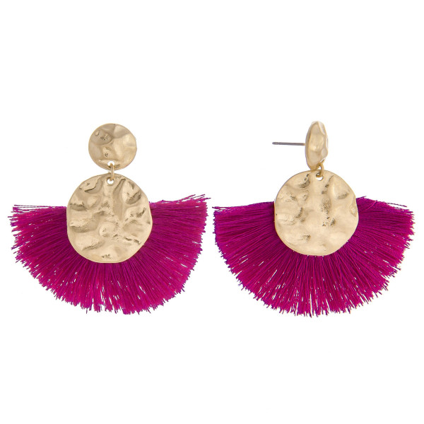 "Short acetate earrings with fanned tassel. Approximate 1"" in length."